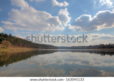 view of lake twistesee in spring, germany - stock photo