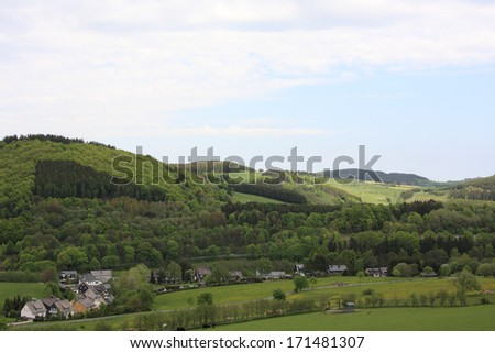 view of landscape and houses at willingen, germany - stock photo