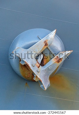 View of large anchor from warship. - stock photo