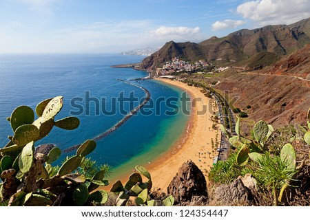 View of Las Teresitas Beach, Tenerife, Spain - stock photo