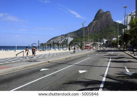 view of leblon beach in rio de janeiro brazil - stock photo