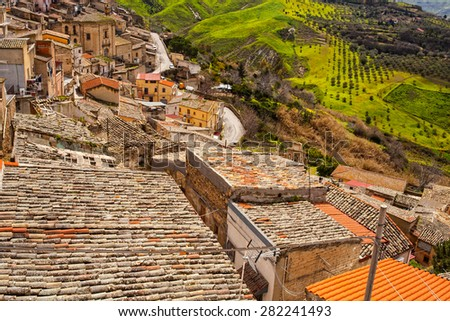 View of Leonforte roofs. Leonforte is a little town in the center of Sicily - stock photo