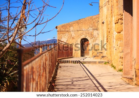View of Leonforte street, little town in Sicily. Italy - stock photo