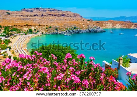 View of Lindos Bay. Lindos, Rhodes, Dodecanese Islands, Greece, Europe - stock photo