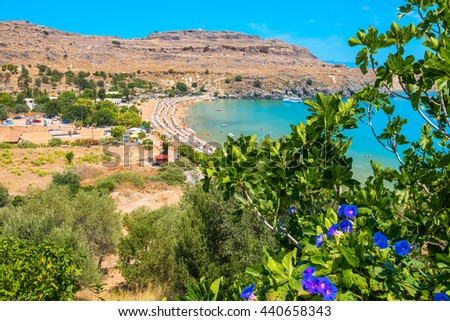 View of Lindos Bay. Lindos, Rhodes, Greece, Europe - stock photo