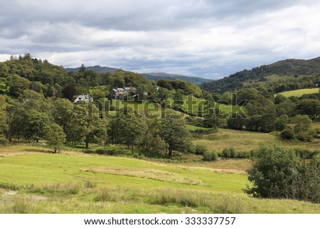 View of Little Langdale, a quiet green valley in the heart of the English Lake District National Park. - stock photo