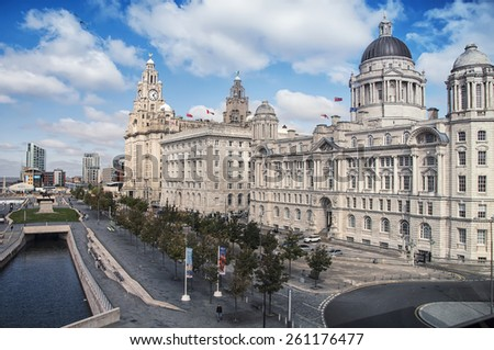 View of Liverpool, UK waterfront from the windows of museum at the docks - stock photo