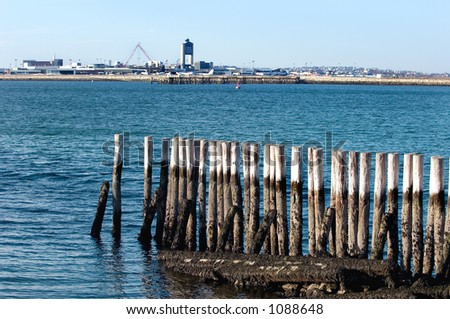 View of Logan Airport from Fort Independence at Castle Island, Massachusetts. - stock photo
