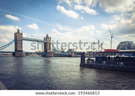 view of London bridge in vintage tone - stock photo