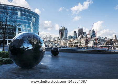 view of london skyline on Thames river, London UK - stock photo