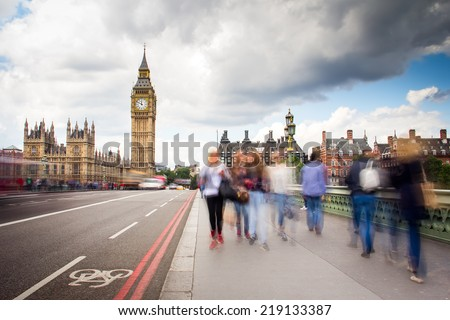 view of London with the Big Ben, the clock tower, and Westminster - stock photo