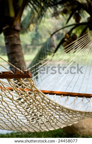 View of lonely hammock in beautiful Indian resort - stock photo
