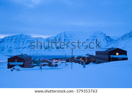 View of Longyearbyen during the polar night in March. Spitsbergen (Svalbard). Norway - stock photo