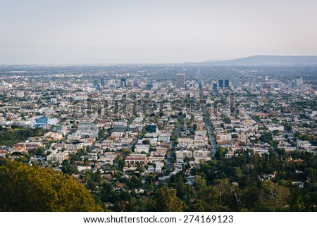 View of Los Angeles from Griffith Observatory, in Los Angeles, California. - stock photo