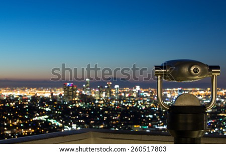 View of Los Angeles skyline at sunrise - stock photo