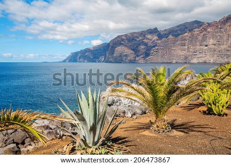 View of Los Gigantes cliffs. Tenerife, Canary Islands, Spain  - stock photo