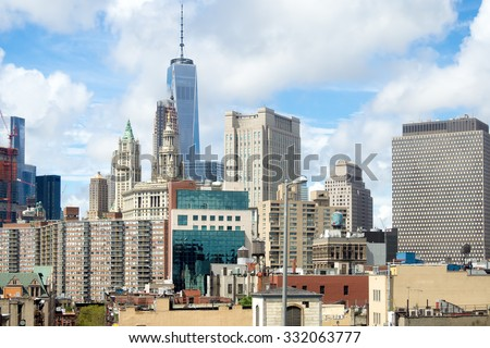 View of Lower Manhattan in New York City including skyscrapers and apartment buildings - stock photo