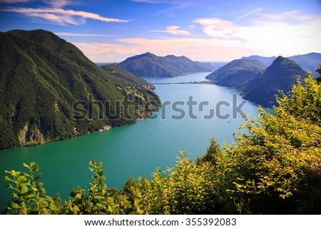 View of Lugano lake in summer,  Switzerland - stock photo