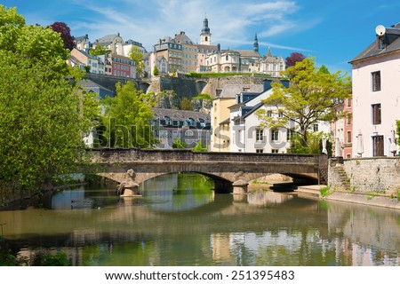 View of Luxembourg city in a sunny summer day - stock photo