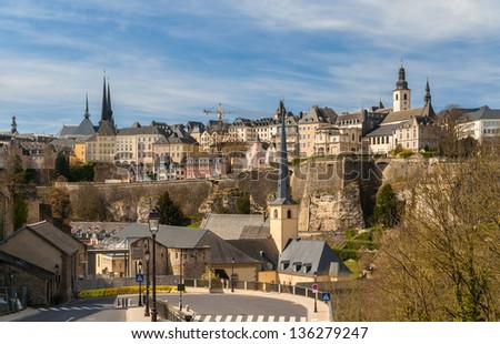 View of Luxembourg city - UNESCO World heritage site - stock photo