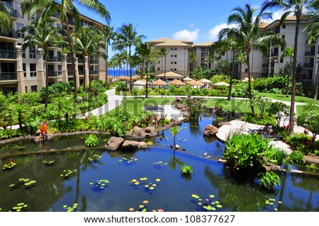 View of luxury hotel, Kaanapali, Maui, Hawaii. - stock photo