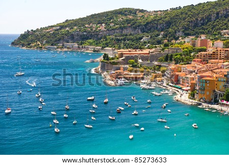 view of luxury resort and bay of Villefranche, Cote d'Azur, France - stock photo