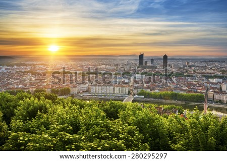 View of Lyon at sunrise, France. - stock photo