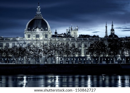 View of Lyon by night with special photographic processing - stock photo