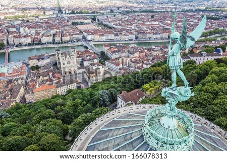 View of Lyon from the top of Notre Dame de Fourviere, France - stock photo
