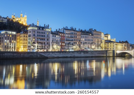 View of Lyon with Saone river at night, France. - stock photo