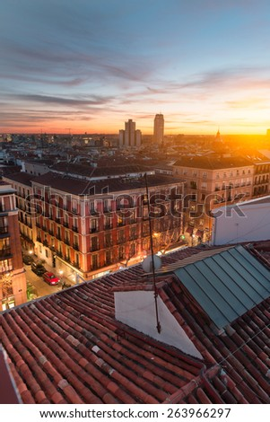 View of Madrid from the roof, sunset - stock photo