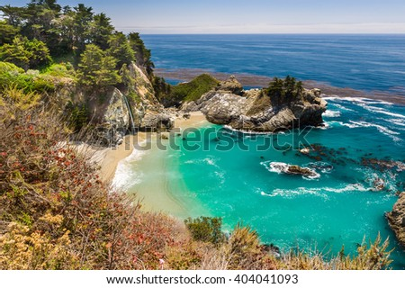 View of magnificent McWay Falls in Julia Pfeiffer Burns State Park. - stock photo