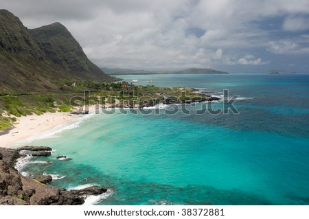 View of Makapuu Beach from Makapuu Head Lookout, on the north shore of Oahu, Hawaii - stock photo