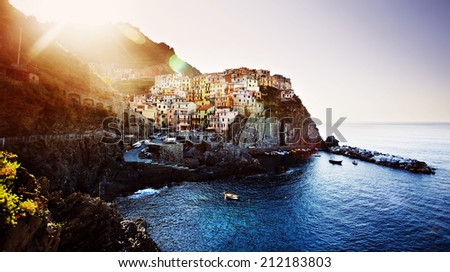 View of Manarola. Cinque Terre Italy at Sunrise - stock photo