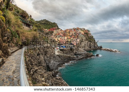 View of Manarola. Manarola is a small town in the province of La Spezia, Liguria, northern Italy.  - stock photo