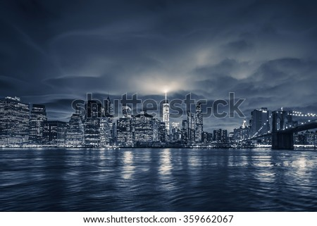 View of Manhattan at night, New York City.  - stock photo