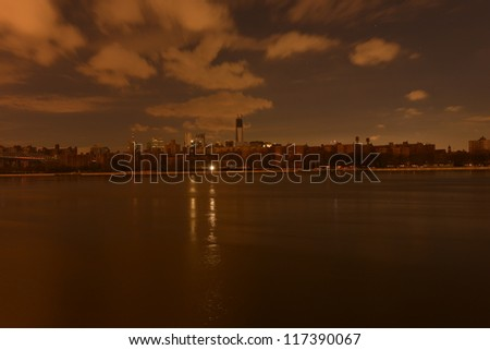 View of Manhattan from Williamsburg following the Power Outage as a result of Hurricane Sandy. - stock photo