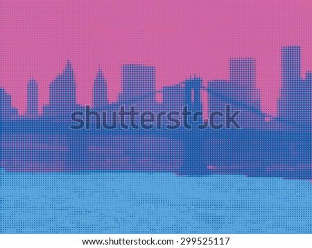 View of Manhattan in Pop Art Style. New York. Halftone - stock photo