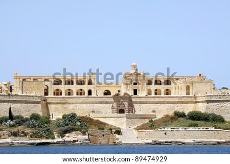 view of manoel island from valletta, malta - stock photo