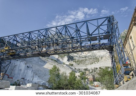 View of marble crane in quarry at Carrara - stock photo