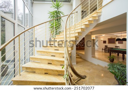 View of marble stairs inside expensive house - stock photo