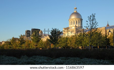 View of Marche Bonsecours in Old port in Montreal, Quebec by a nice autumn day - stock photo