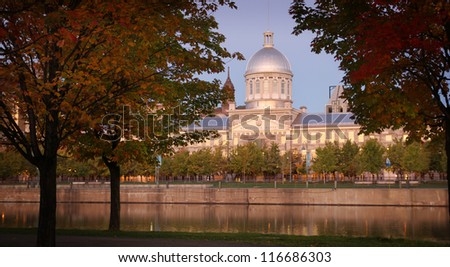View of marche bonsecours in the old port in Montreal, Quebec during fall season - stock photo