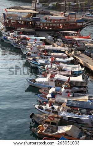 View of marina in the evening, Antalya, Turkey - stock photo