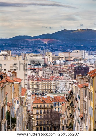 View of Marseille from Notre-Dame de la Garde - France - stock photo