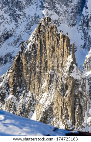 view of massif mont blanc italian side from courmayeur - stock photo
