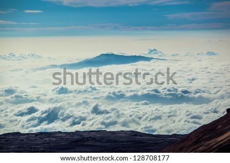View of Maui Island  from Mauna Kea mountain, Big Island, Hawaii - stock photo