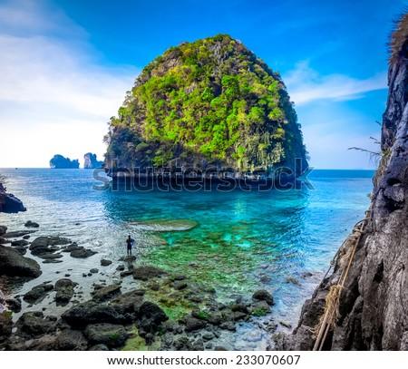 View of Maya Bay, Phi Phi island, Thailand - stock photo