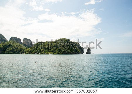 View of Maya Bay, Phi Phi island, Thailand, Phuket. Seascape of tropical island with resorts -  Krabi Province - stock photo
