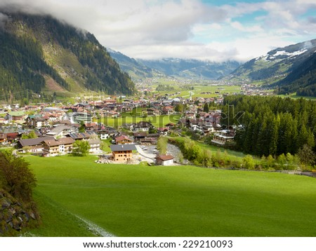 View of Mayrhofen in the Zillertal - stock photo